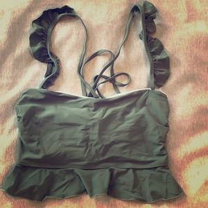 Zaful Long Bikini Top. Ruffle cross back straps.